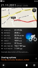 Sports Tracker N9 Workout view