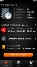 Sports Tracker N9 Home Screen