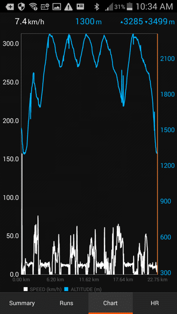 Select Chart at the bottom of the page to see altitude change (blue) compared to speed (white).