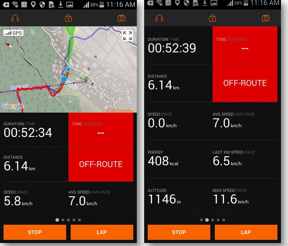 Sports Tracker Ghost Target workout view