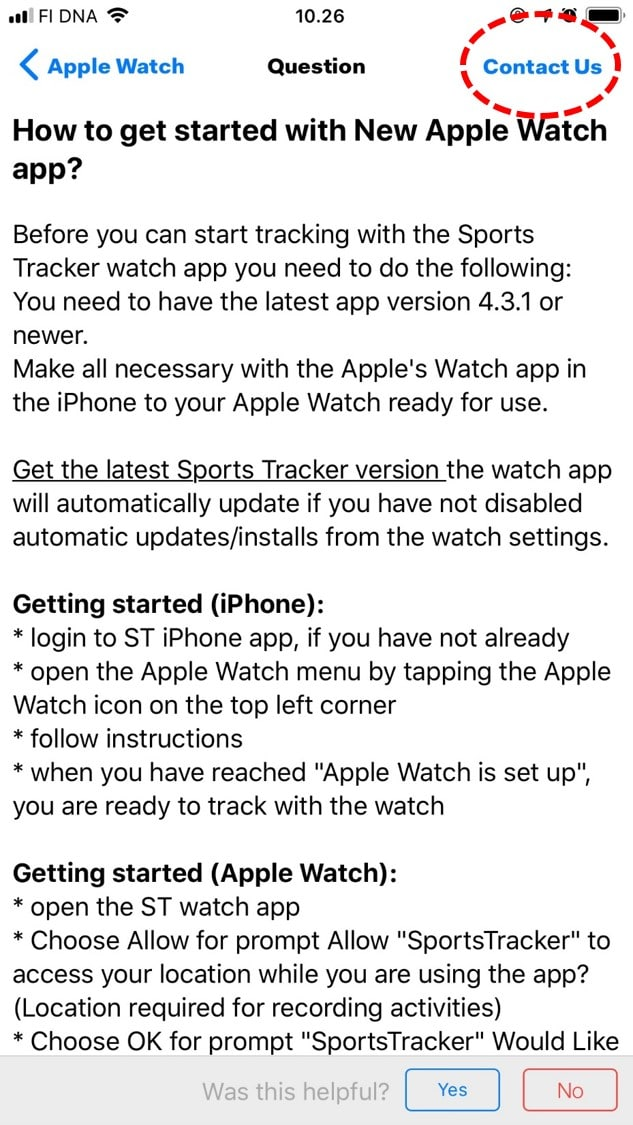 Sports Tracker support iOS