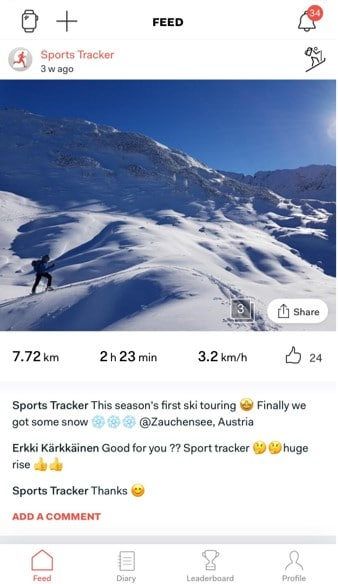 Sports Tracker ios Share