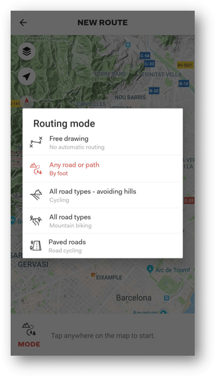 3. Choose the routing you want to use.