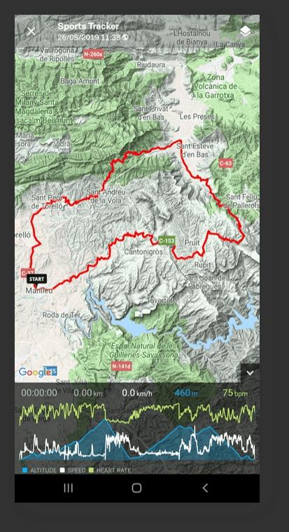 Sports Tracker tracking mountain biking, route