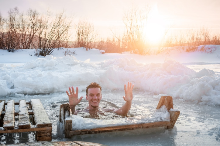 Swimming at winter time